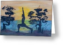 Yoga High Lunge Pose  Greeting Card