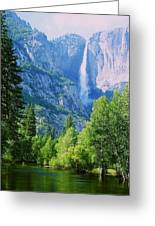 Yosemite Falls And Merced River Greeting Card