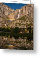 Yosemite Falls Moonbow Reflection Greeting Card