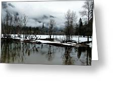 Yosemite River View In Snowy Winter Greeting Card