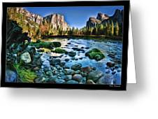 Yosemite Rocks In River Greeting Card
