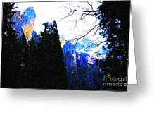 Yosemite Snow Top Mountains Greeting Card