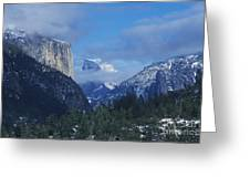 Yosemite View In Snow Greeting Card