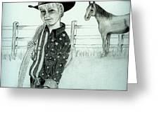 Young Cowboy Greeting Card by Carolyn Ardolino