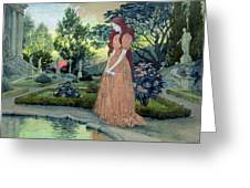 Young Girl In A Garden  Greeting Card