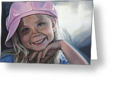 Young Girl In Pink Hat Greeting Card