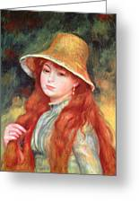 Young Girl With Long Hair Greeting Card
