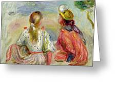 Young Girls On The Beach Greeting Card