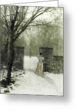 Young Lady By Stone Pillar In Snow Greeting Card