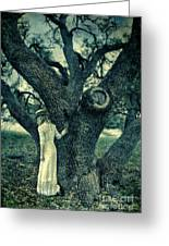 Young Lady In White By Tree Greeting Card