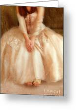 Young Lady Sitting In Satin Gown Greeting Card