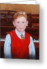 Young Piano Student Greeting Card