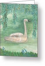 Young Swan Under Willow Tree Greeting Card