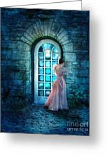 Young Woman Alone In Pink Gown  Greeting Card