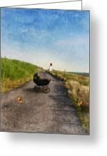 Young Woman And Baby Buggy On Dirt Road  Greeting Card