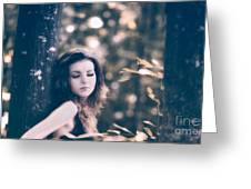 Young Woman In The Forest Greeting Card by Gabriela Insuratelu