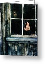 Young Woman Looking Through Hole In Window Greeting Card by Jill Battaglia