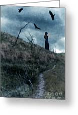 Young Woman On Creepy Path With Black Birds Overhead Greeting Card