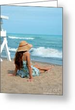 Young Woman Sitting On A Beach Greeting Card