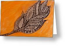 Zentangle Leaf Greeting Card
