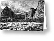 Zion Canyon - Bw Greeting Card