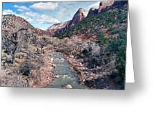 Zion Virgin River In Winter Greeting Card