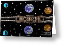 Zipper And Planets Greeting Card