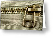 Zipper Detail Close Up Greeting Card by Blink Images
