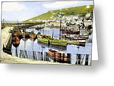 1900 Harbour View Mousehole Cornwall England Greeting Card