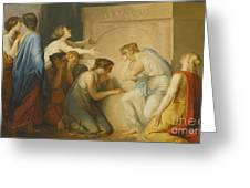 A Group Of Female Mourners At The Tomb Of Achilles Greeting Card