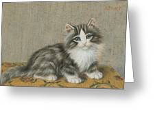 A Kitten On A Table Greeting Card