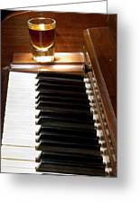 A Shot Of Bourbon Whiskey And The Black And White Piano Ivory K Greeting Card