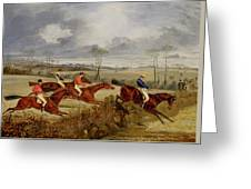 A Steeplechase - Near The Finish Greeting Card