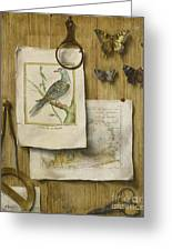 A Trompe L'oeil With Magnifying Glass Greeting Card