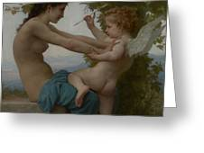 A Young Girl Defending Herself Against Eros Greeting Card