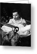 Baby In Chair 1910s Black White Archive Boy Kids Greeting Card