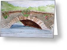 Baskets Of Flowers On Bridge To Westport Ireland Greeting Card