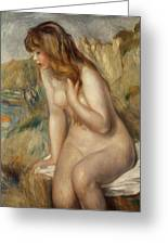 Bather Seated On A Rock Greeting Card