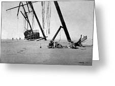 Beached Sailing Ship Circa 1900 Black White Greeting Card