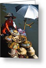 Boat Woman In Thailand Greeting Card