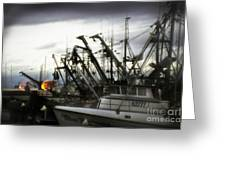 Boats With Sprays Of Light Greeting Card