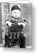 Boy Dressed Elf Sitting Backwards In Chair 1890s Greeting Card