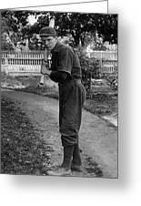 Boy In Baseball Uniform Posing Bat Circa 1898 Greeting Card