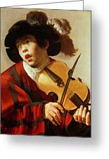 Boy Playing Stringed Instrument And Singing Greeting Card