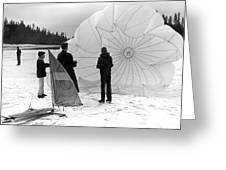 Boys Frozen Lake Parachute Sailboard Circa 1960 Greeting Card