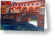 Bridge On The Arno Greeting Card