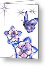Butterfly Amongst The Flowers Greeting Card