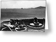 Cannons In Fort Aimed Harbor Circa 1865 Black Greeting Card