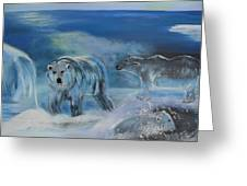 Carved Ice Polar Bears Greeting Card