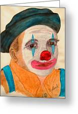 Clown Looking In A Mirror Greeting Card by Thomas J Norbeck